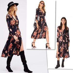 FREE PEOPLE MIRANDA BLACK COMBO SHIRTDRESS DRESS